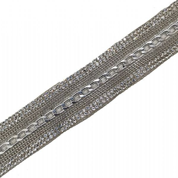 1 metre x 24mm silver chain with crystals